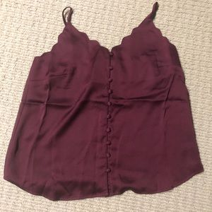 BRAND NEW maroon scallop satin top
